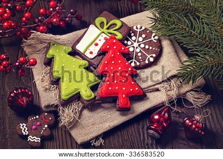 Chocolate Christmas gingerbread snowflake decorated with white l Stock photo © djmilic