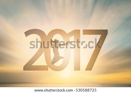 beautiful golden 2017 text on green background with light rays Stock photo © SArts