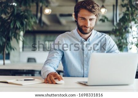 businessman with open laptop in his hands Stock photo © leedsn