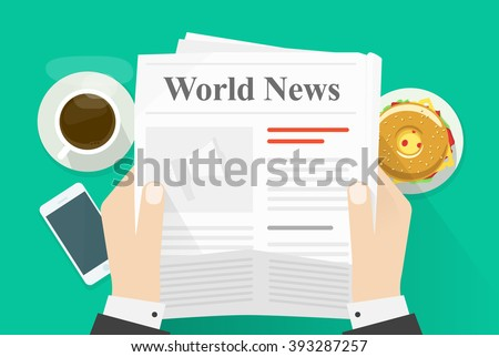 man reading newspaper with the headline nutrition and fitness stock photo © zerbor