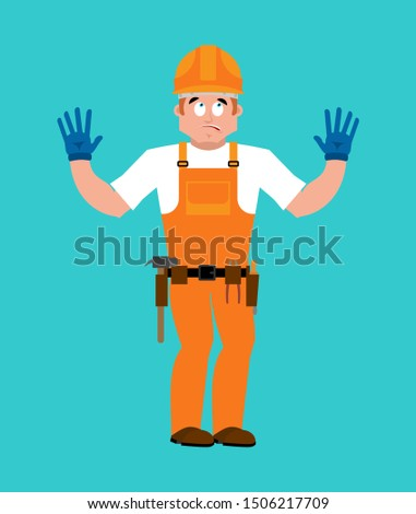 Builder oops guilty . Worker in protective helmet culpable. Serv Stock photo © popaukropa