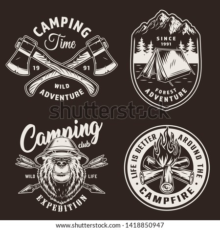 crossed axes icon. Monochrome camping design isolated on white background. Hiking vintage symbol. Re Stock photo © JeksonGraphics