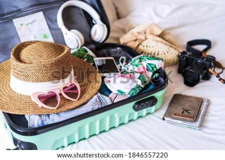koffer · reiziger · toiletartikelen · hoed · houten · business - stockfoto © virgin