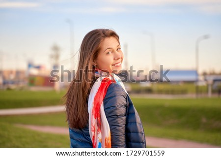Half-turn portrait of attractive gentle woman with healthy skin  Stock photo © deandrobot