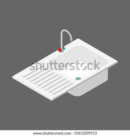 Kitchen sink isometry isolated. Kitchen utensils. Vector illustr Stock photo © popaukropa