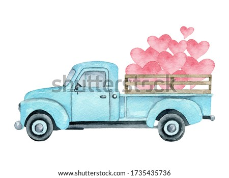 valentine day card with heart truck and love hand drawn vector illustration stock photo © oney_why