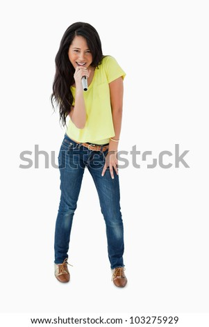 Microphone with stand against smiling young woman holding wineglass Stock photo © wavebreak_media