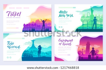 Tourists on the background of cities brochure cards set. Travel around the world template of flyear, Stock photo © Linetale