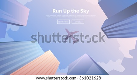 flat building airport with flying plane tour concept background.  Vector illustration for colorful t stock photo © Linetale
