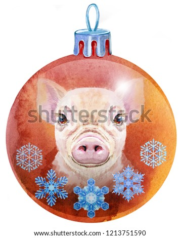 watercolor red christmas ball with snowlake isolated on a white background stock photo © natalia_1947
