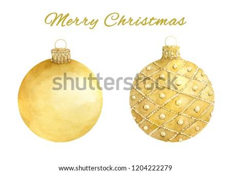 Foto stock: Acuarela · amarillo · Navidad · pelota · aislado · blanco