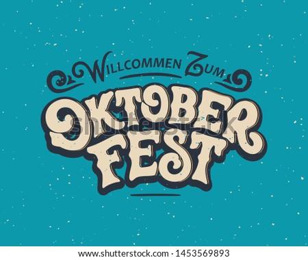 Oktoberfest ilustração vintage madeira tipografia Foto stock © articular