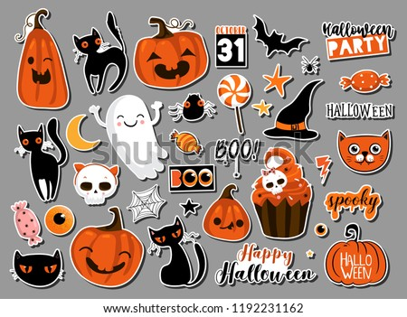 Boo, Happy Halloween design with typography lettering, moon, flying bats and cemetery on orange nigh Stock photo © articular