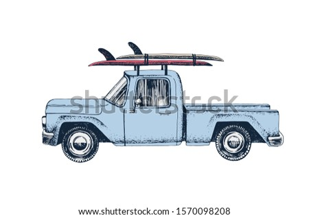 Vintage hand drawn surfing car. Retro transportation with surf pennant. Old style surfers automobile Stock photo © JeksonGraphics