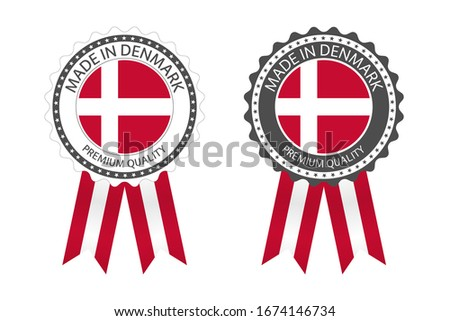 Modern vector Made in Denmark label isolated on white background, simple sticker with Danish colors, stock photo © kurkalukas