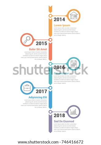 vertical timeline infographics template workflow process diagram vector illustration stock photo © kyryloff