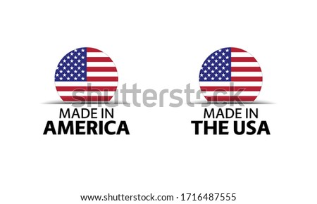 Modern vector Made in America label isolated on white background, simple sticker with American color stock photo © kurkalukas