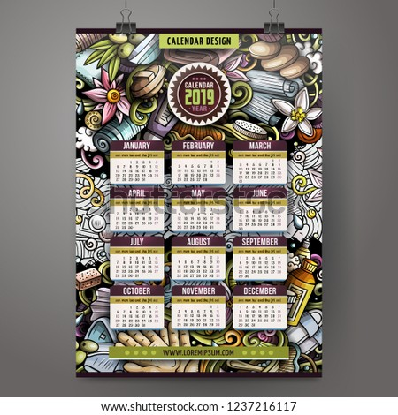 February Calendar 2019 Massage Cartoon colorful hand drawn doodles Massage 2019 year calendar t