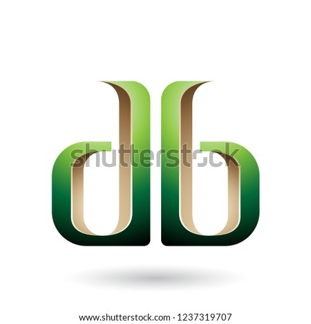 Beige and Green Double Sided D and B Letters Vector Illustration Stock photo © cidepix