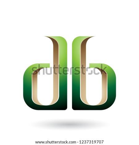 Beige groene verdubbelen brieven vector illustratie Stockfoto © cidepix