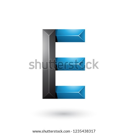 Black and Blue Pyramid Like Geometrical Letter E Vector Illustra Stock photo © cidepix
