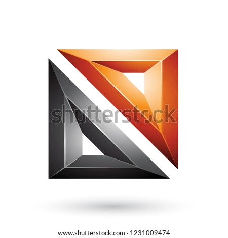 Orange and Black Frame Like Embossed Square Shape Vector Illustr Stock photo © cidepix