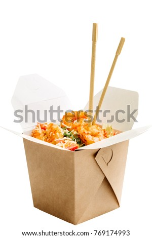 A cardboard box of eating and chopsticks isolated on white background. Vector cartoon close-up illus Stock photo © Lady-Luck
