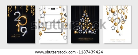 Stock photo: Happy New Year 2019, silver numbers design of greeting card,  falling shiny confetti, Vector illustr