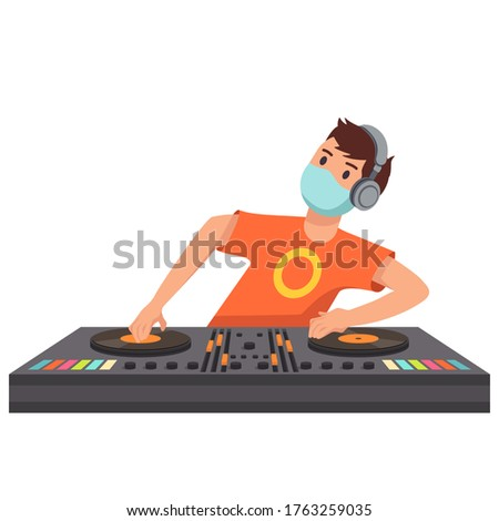 hand mixing music on dj controller with party club colors around stock photo © ra2studio