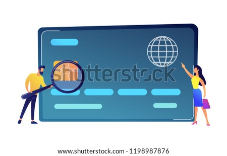 Shopper with magnifier, buyer with shopping bag and hude plastic bag vector illustration. Stock photo © RAStudio