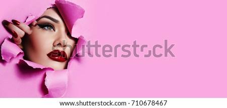 Foto stock: Nina · moda · modelo · brillante · maquillaje · rojo