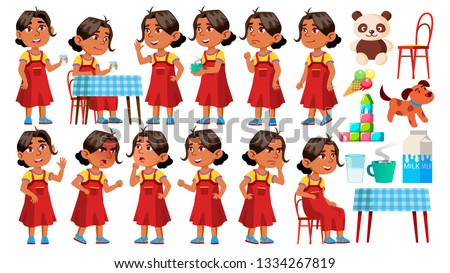Arab, Muslim Girl Kindergarten Kid Poses Set Vector. Little Children. Happiness Enjoyment. For Web,  Stock photo © pikepicture