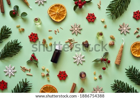 Stock photo: Bottles of essential oil with frankincense, wintergreen, lavender