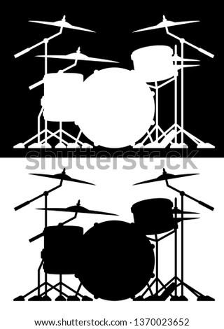dob · szett · sziluett · izolált · mindkettő · feketefehér - stock fotó © jeff_hobrath