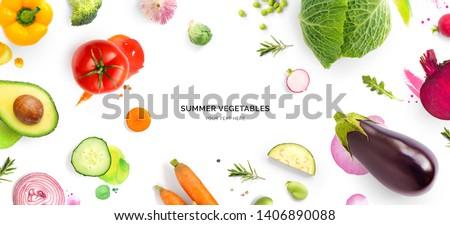 トマト キュウリ サラダ 白 水彩画 実例 ストックフォト © ConceptCafe