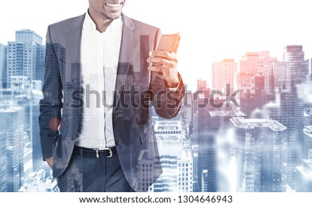 Businessman works with his smartphone in office. double exposure. Stock photo © alphaspirit