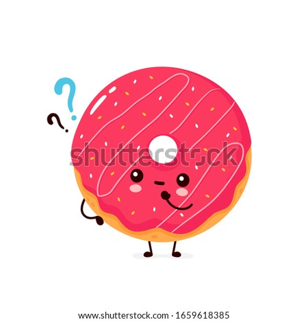 funny donut cartoon character with sprinkles thinking of love and wanting a hug stock photo © hittoon