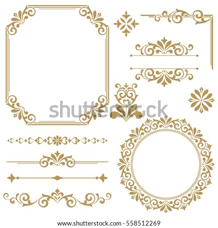 Stock photo: Classic ornamented frame Vector. Victorian border monogram flora