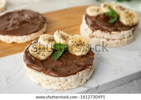здорового органический риса торты шоколадом масло Сток-фото © DenisMArt