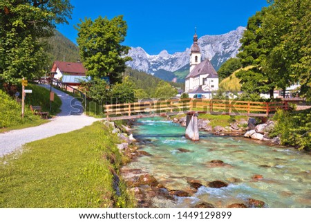 Photo stock: Sankt Sebastian Pilgrimage Church With Alpine Turquoise River Al