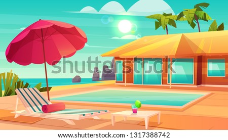 Beach holiday lounging chairs under sun umbrella vacation background. Summer tropical travel destina Stock photo © Maridav