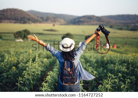 young traveler with backpack are holding map relaxing and takin stock photo © freedomz