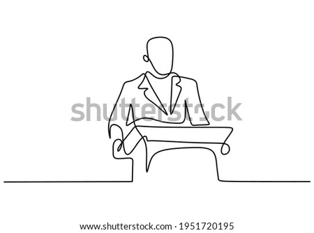 Businessman on podium speaking at conference with minimal background Stock photo © wavebreak_media