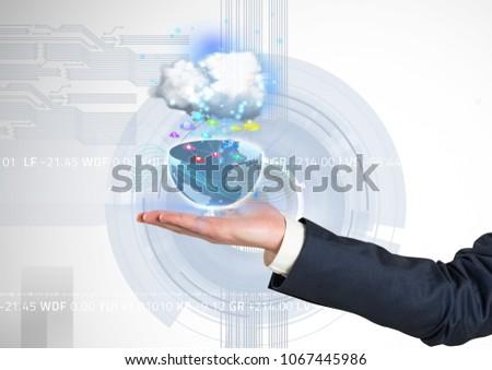 Mão metade terra aplicação ícones para cima Foto stock © wavebreak_media