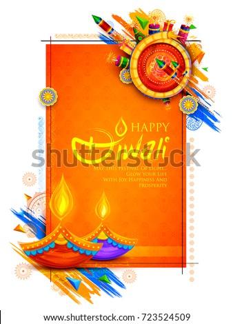 happy diwali crackers celebration background decoration design stock photo © sarts