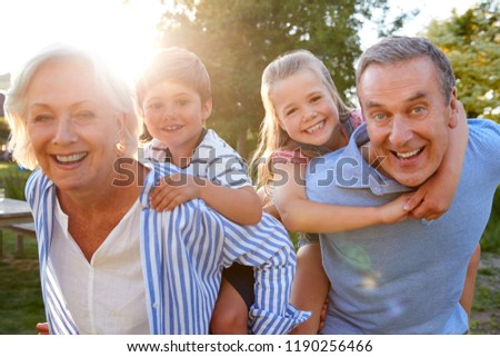 Vue heureux grands-parents ferroutage petits enfants Photo stock © wavebreak_media