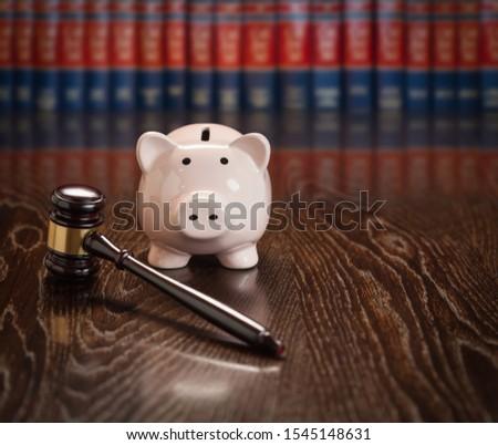 Kalapács persely fa asztal törvény könyvek pénz Stock fotó © feverpitch