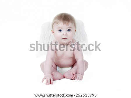 Cute baby cupid with angel wings in front of a white background Stock photo © Lopolo