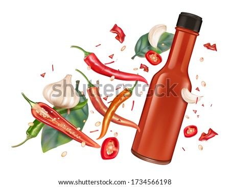 Hot chili sauce fire background vector realistic. Product placem Stock photo © frimufilms