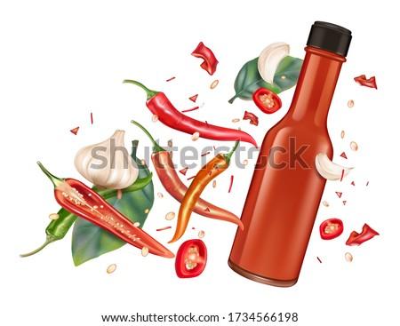 Hot chili saus brand vector realistisch Stockfoto © frimufilms